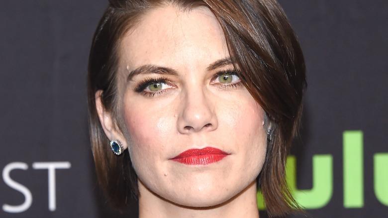 Lauren Cohan wearing red lipstick