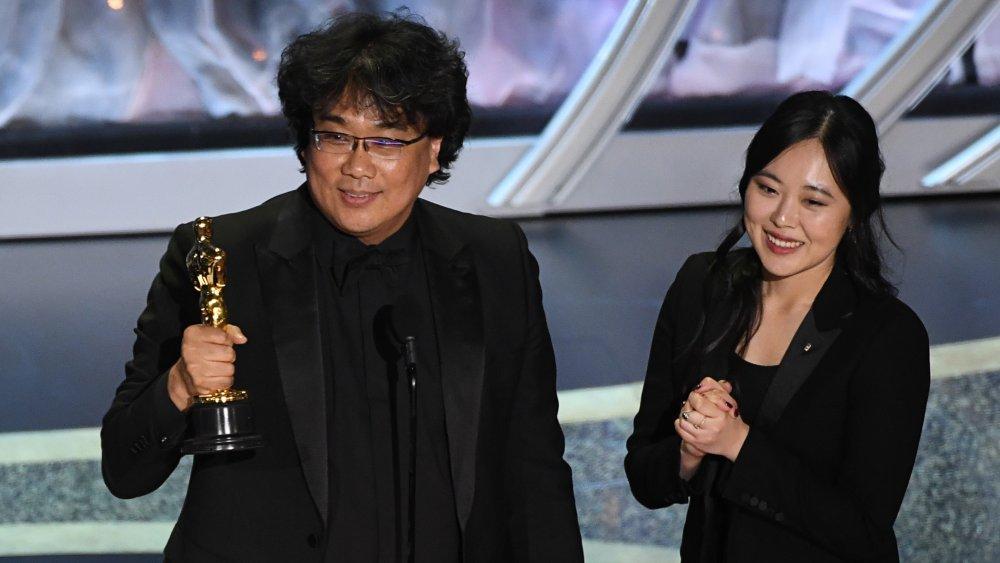Sharon Choi and Bong Joon-ho at the 2020 Oscars