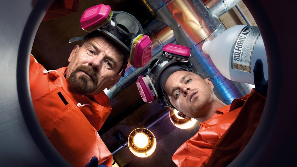 Walt and Jesse with the lab barrel in Breaking Bad