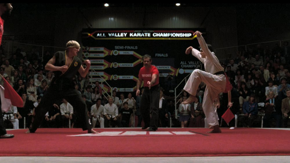 William Zabka and Ralph Macchio in The Karate Kid