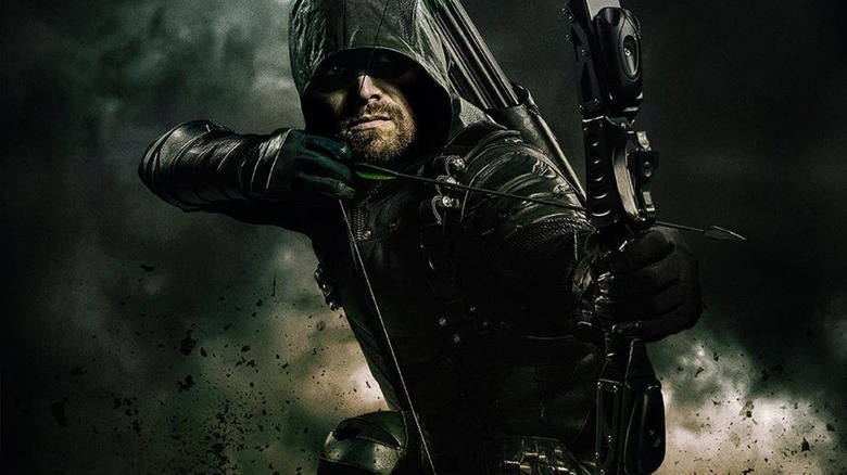 Stephen Amell as Green Arrow in promo art for CW's Arrow