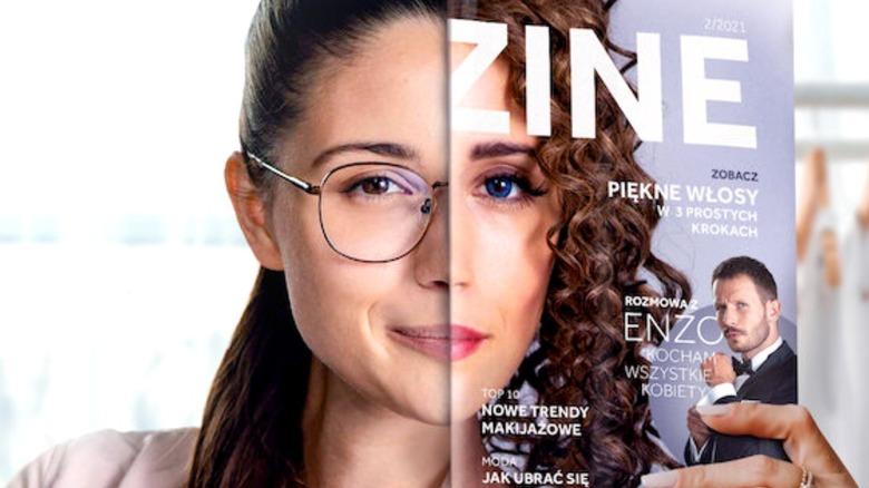 Adrianna Chlebicka holding up magazine