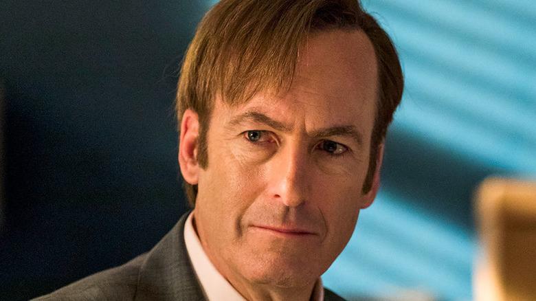 An extreme close-up on Saul Goodman's face