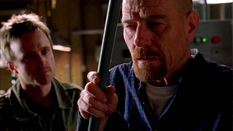 Aaron Paul as Jesse Pinkman and Bryan Cranston as Walter White on Breaking Bad