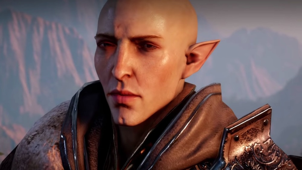 Solas with blue light leaking from his eyes, a wolf at his side