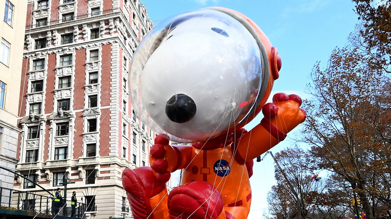 The astronaut Snoopy balloon in the Macy's Thanksgiving Day Parade