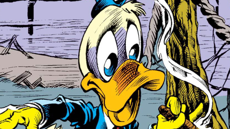 Howard the Duck ripping through a newspaper