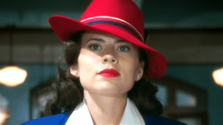 Peggy Carter wearing her iconic red hat