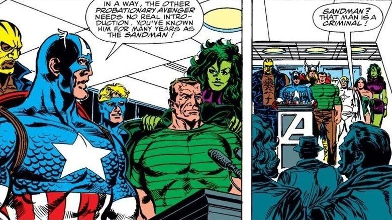 Cap introduces Sandman as  Avenger