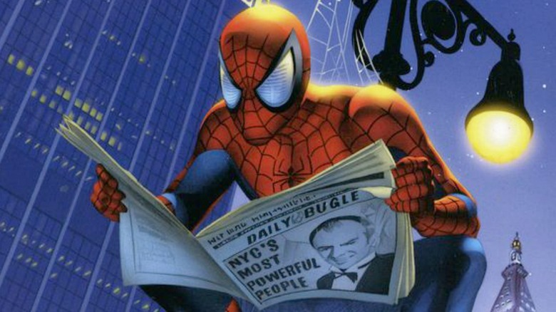 Spider-Man reads the Daily Bugle