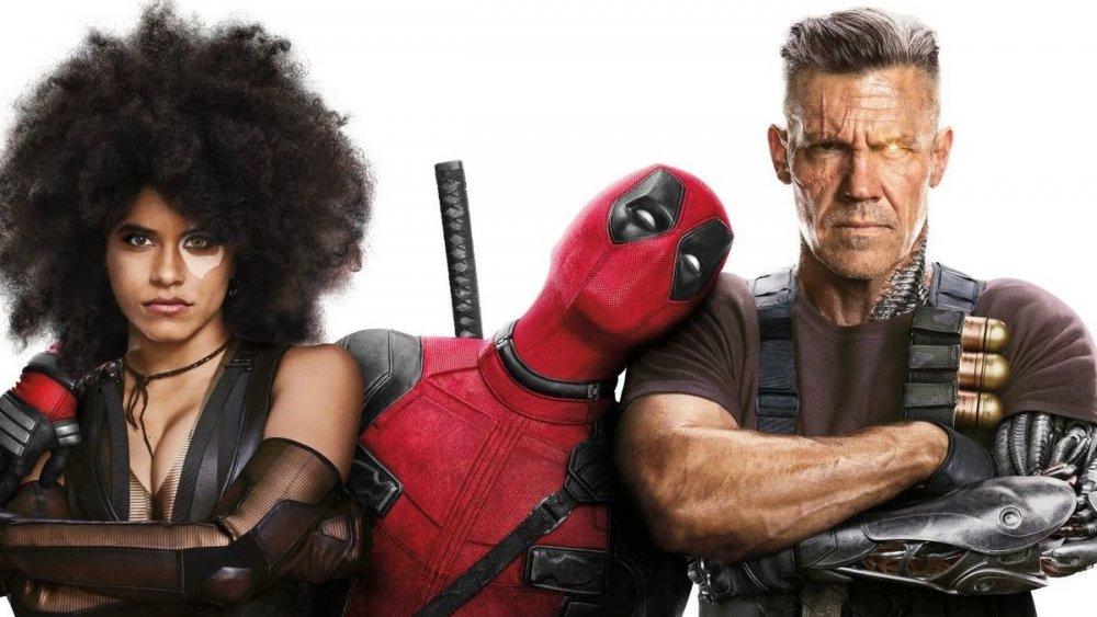 Zazie Beetz as Domino, Ryan Reynolds as Deadpool, and Josh Brolin as Cable
