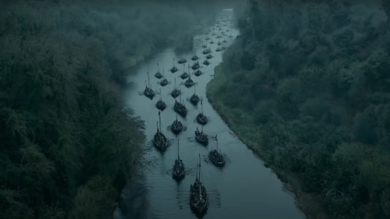 Viking ships in river