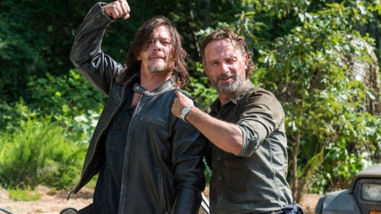 Norman Reedus as Daryl Dixon and Andrew Lincoln as Rick Grimes on the set of The Walking Dead
