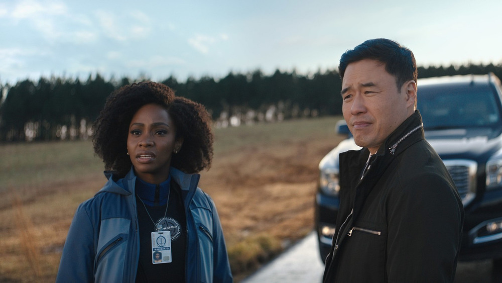 Monica Rambeau and Jimmy Woo staring at Westview, NJ sign