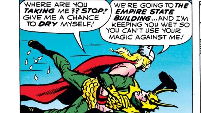 Thor carrying Loki