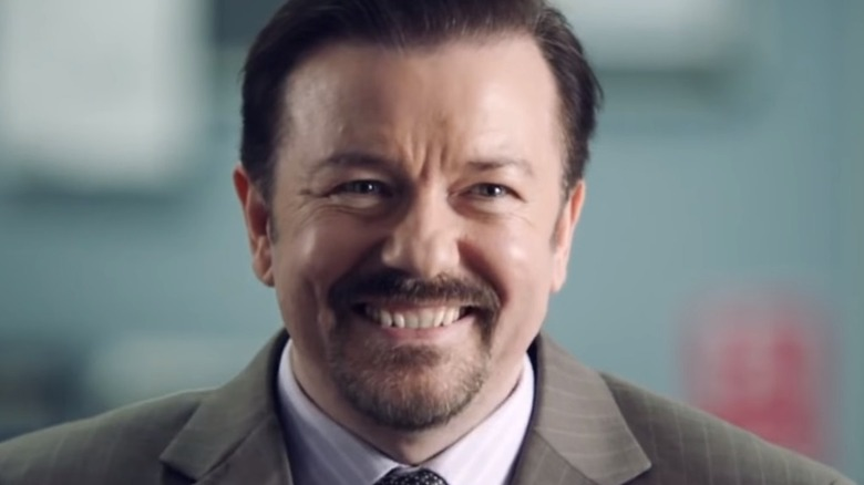 David Brent Smiles in Office