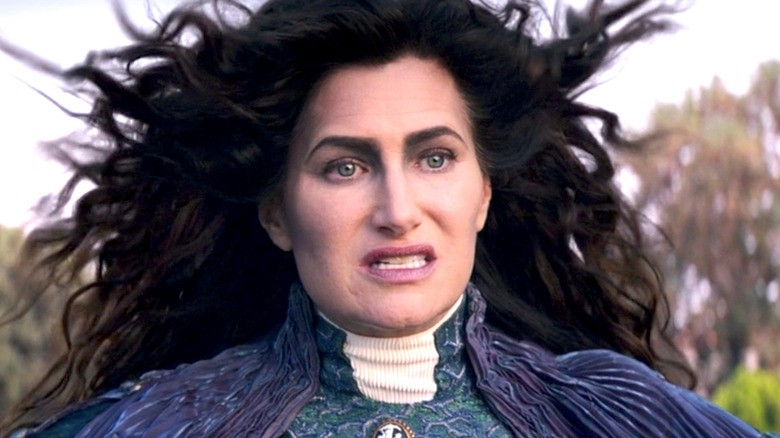Agatha Harkness threatening with hair flowing in wind