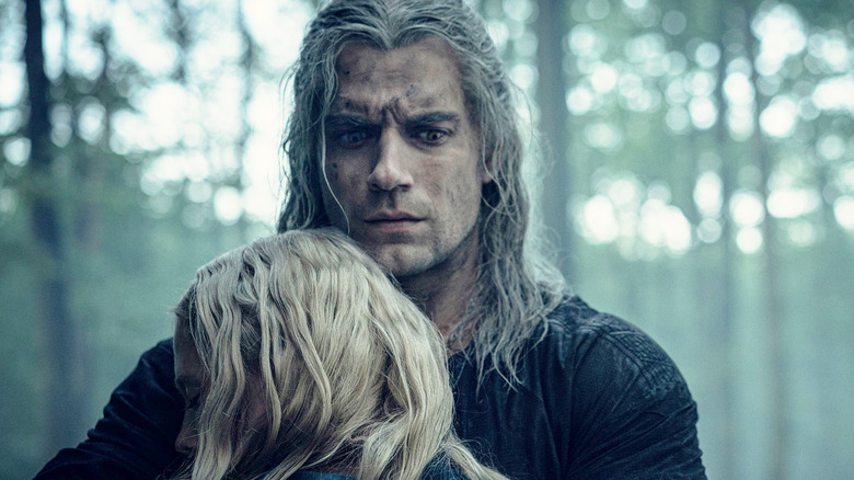 Henry Cavill's Geralt comforts Ciri in The Witcher