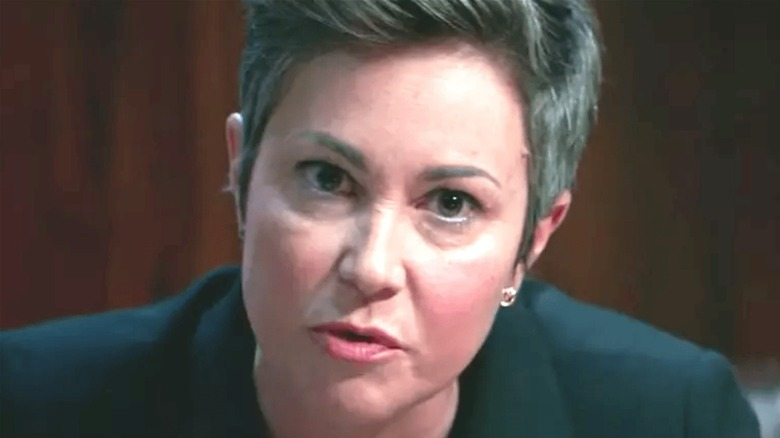 Linda Barnes stares intently.