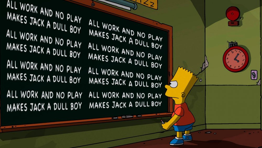 Bart Simpson at the chalkboard in the opening to The Simpsons