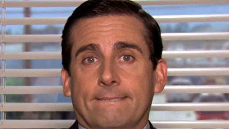 Michael Scott biting lip on The Office