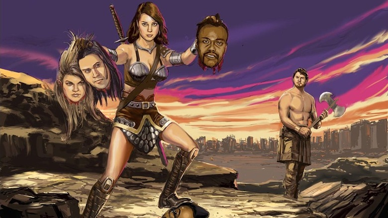 Artwork from Parks and Rec with Aubrey Plaza as Xena: Warrior Princess