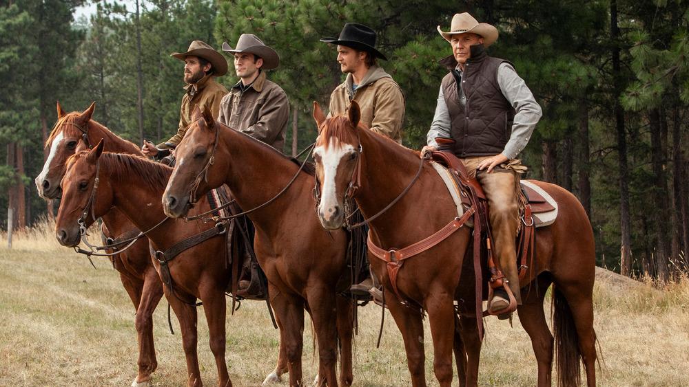 Yellowstone characters on horseback