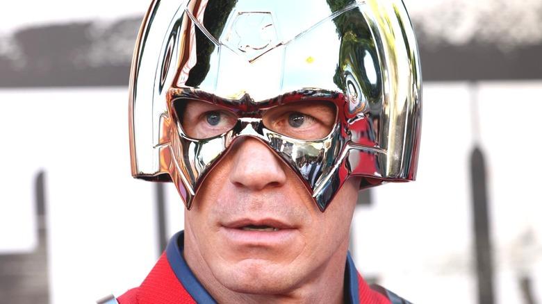 John Cena in the Peacemaker helmet
