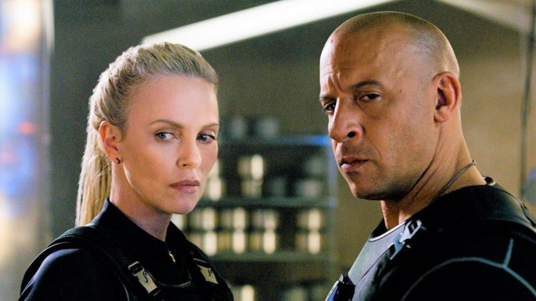 Charlize Theron and Vin Diesel in the Fast and the Furious franchise