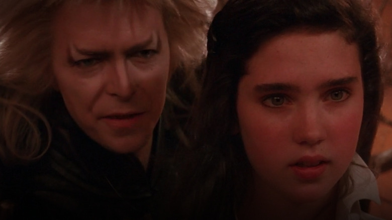 David Bowie as the Goblin King and Jennifer Connelly as Sarah in Labyrinth