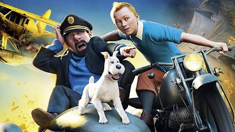 Tintin driving motorcycle