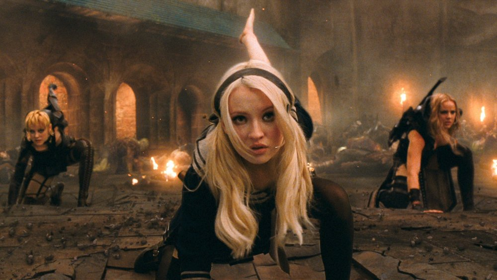 Jena Malone as Rocket, Emmy Browning as Babydoll, and Abbie Cornish as Sweet Pea in Sucker Punch