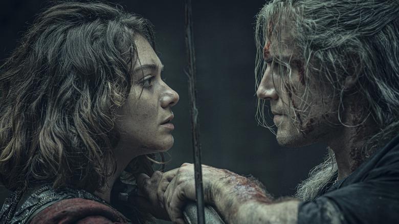 Emma Appleton as Renfri and Henry Cavill as Geralt on The Witcher