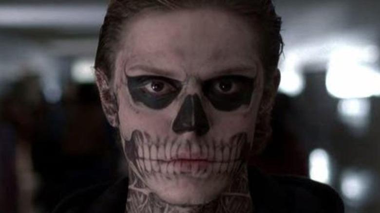 Evan Peters Tate skull makeup