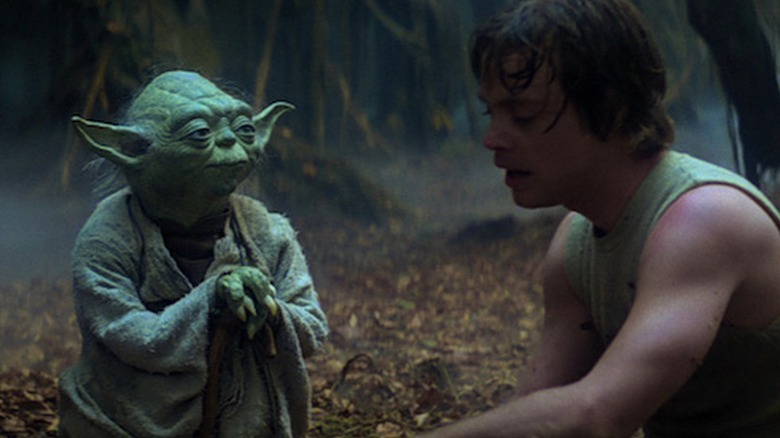 Mark Hamill as Luke Skywalker training with Yoda in The Empire Strikes Back