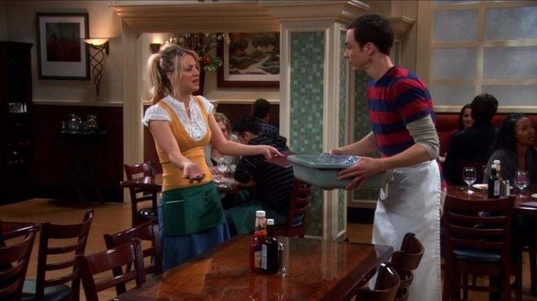 Kaley Cuoco as Penny and Jim Parsons as Sheldon on The Big Bang Theory