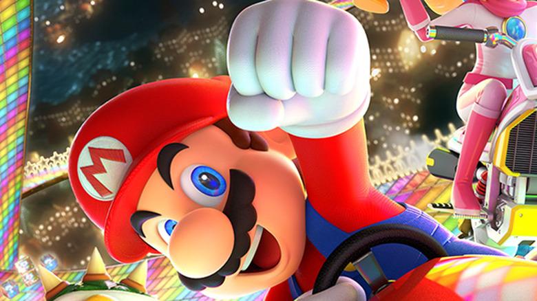 Mario and Yoshi ride karts in Mario Kart 8 Deluxe