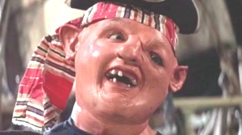 Sloth wearing a pirate hat in The Goonies