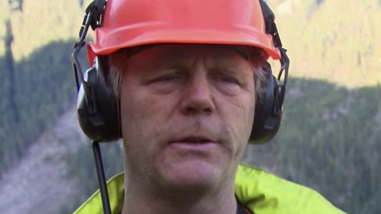 Kevin Wenstob wearing orange helmet