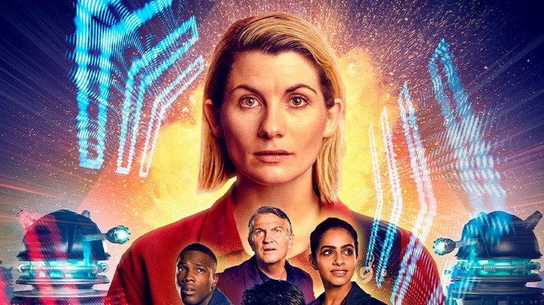 Jodie Whittaker, Tosin Cole, Bradley Walsh, and Mandip Gill as The Doctor, Ryan Sinclair, Graham O'Brien, and Yasmin Khan on Doctor Who