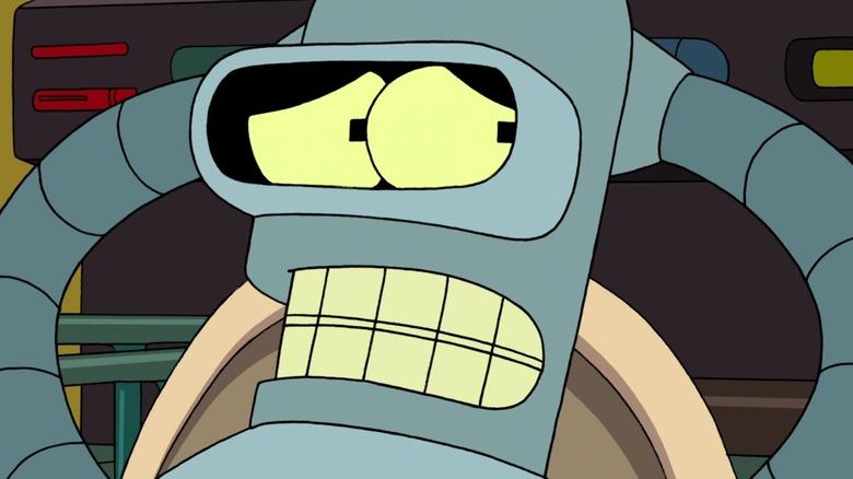 Bender glancing anxiously sideways