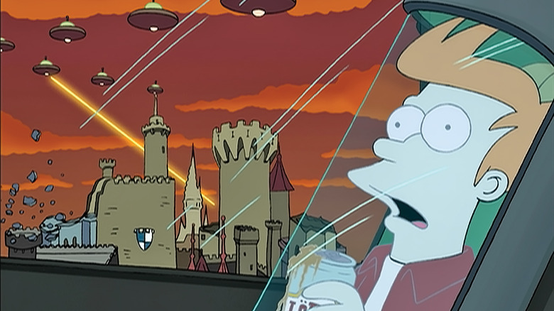 """Fry frozen in a cryonic tube as aliens invade in the background in """"Futurama"""""""