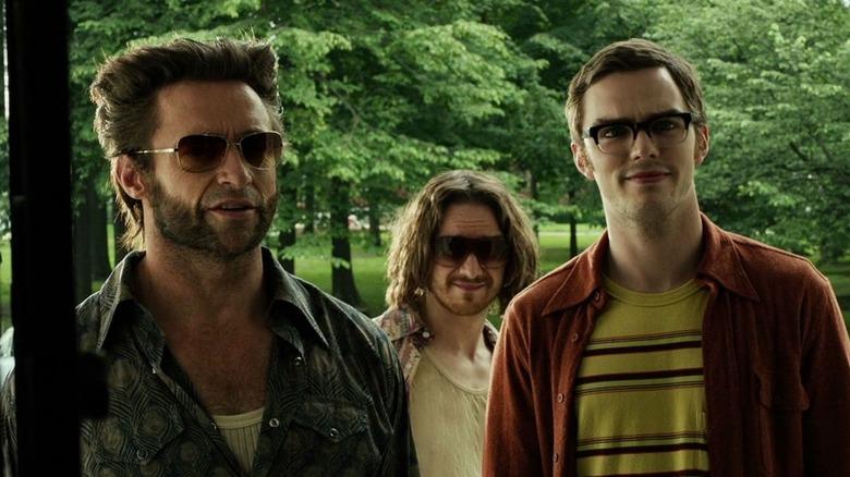 Logan (Hugh Jackman), Charles Xavier (James McAvoy), and Hank McCoy (Nicholas Hoult) in X-Men: Days of Future Past
