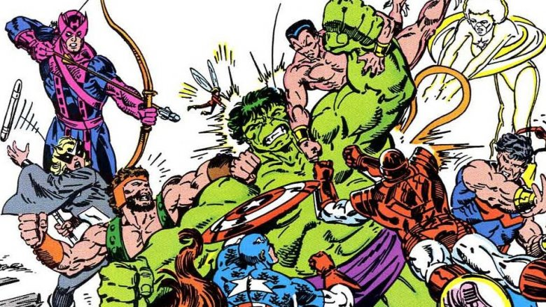 The Hulk fighting the Avengers on the cover of Incredible Hulk #321