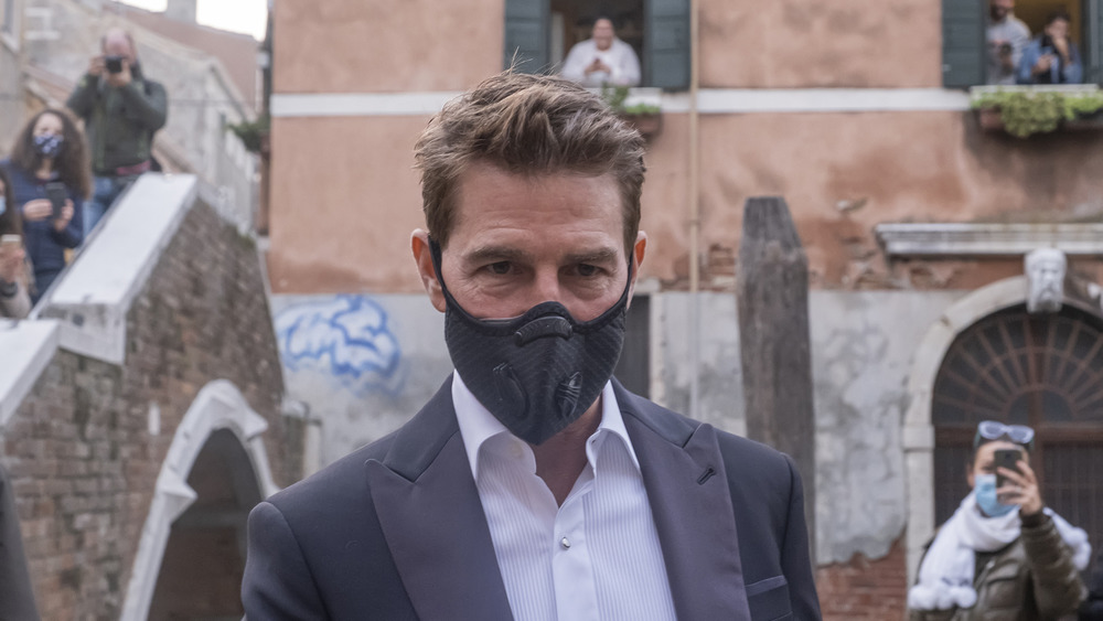 Tom Cruise on set in mask