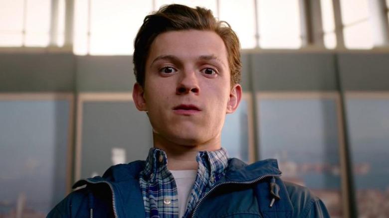 Tom Holland Spider-Man looking shocked