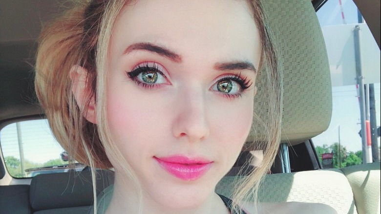 Amouranth taking selfie in car