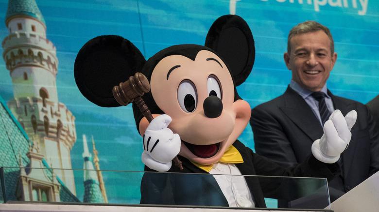 Mickey Mouse and Bob Iger at NYSE