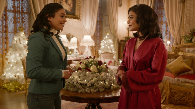 Vanessa Hudgens' Margaret and Stacy chat by the Christmas tree in The Princess Switch: Switched Again