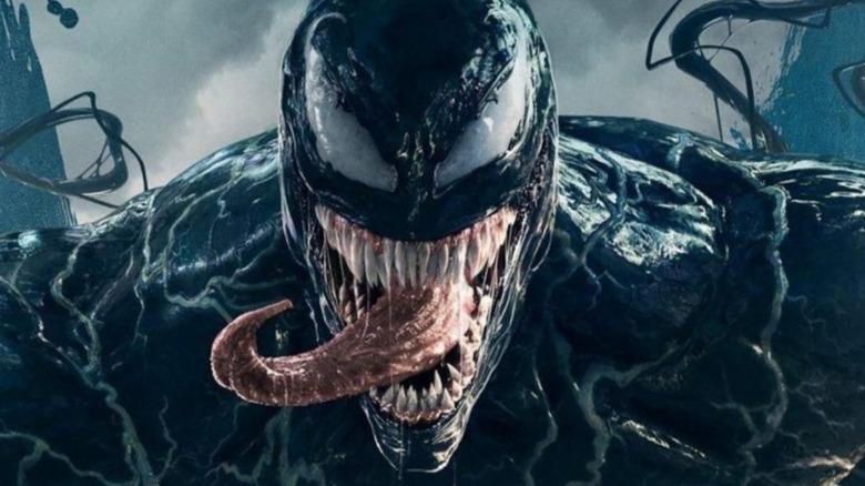 Venom sticks out his tongue